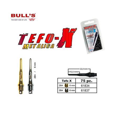 Bull`s Tefo X Metallic plateadas. Caja 100 unid.